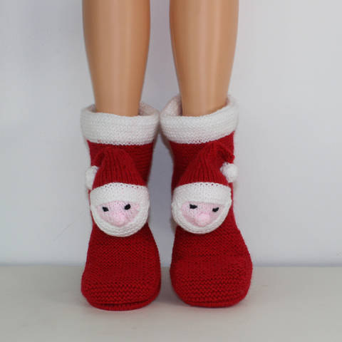 Ladies Santa Head Christmas Slippers