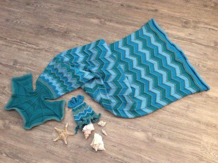 "Strickanleitung Decke ""Meerjungfrau"" bei Makerist - Bild 1"