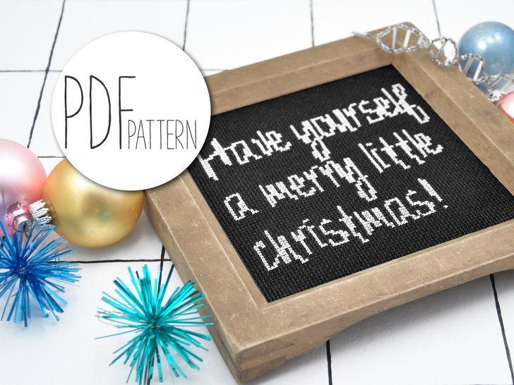 Weihnachten Kreuzstich Stickvorlage MERRY CHRISTMAS bei Makerist - Bild 1