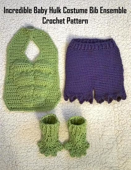 Incredible Baby Hulk Costume Bib Ensemble Crochet Pattern at Makerist - Image 1