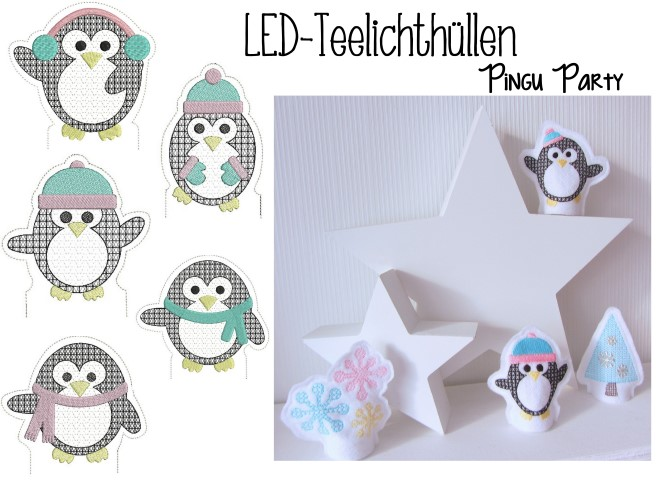 Stickdatei ITH - LED Teelichthülle Pingu Party in Format PES