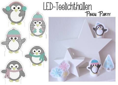 Stickdatei ITH - LED Teelichthülle Pingu Party in Format PES bei Makerist