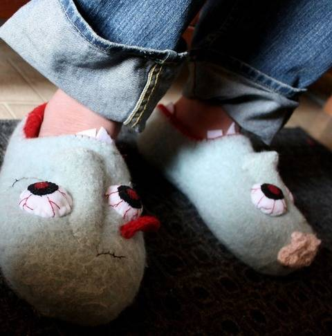 Waking Dead Felted Slippers