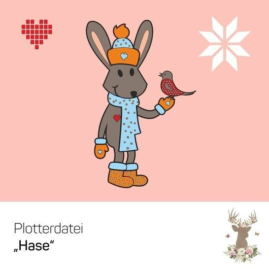 """Plotterdatei """"Hase & Vogel"""" bei Makerist - Bild 1"""