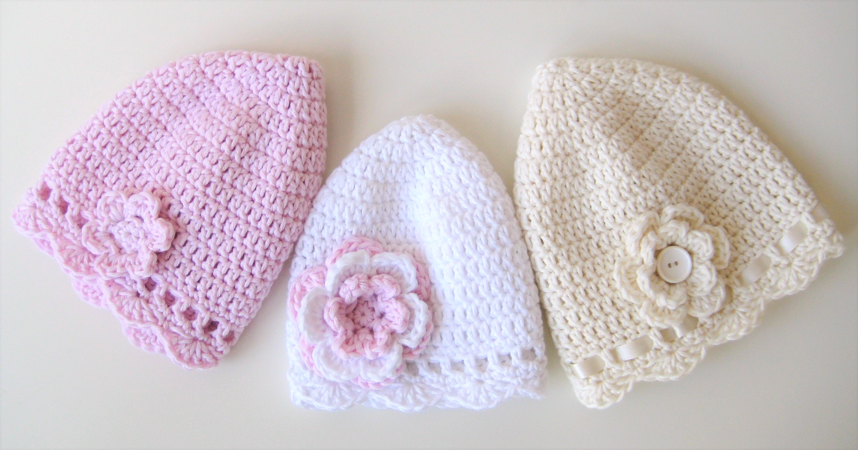 Crochet Hat, Classic Baby Hats, Pattern No1, in both UK and US crochet terms