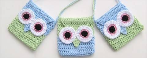 Crochet Bag, Owl handbag pattern, No2, Easy, in both UK and US crochet terms