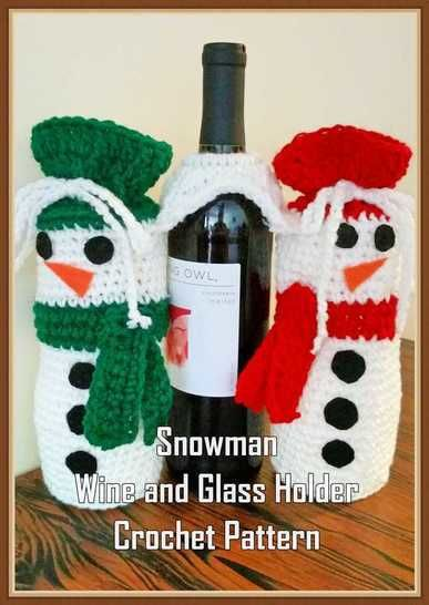 Snowman Wine and Glass Holder Crochet Pattern at Makerist - Image 1