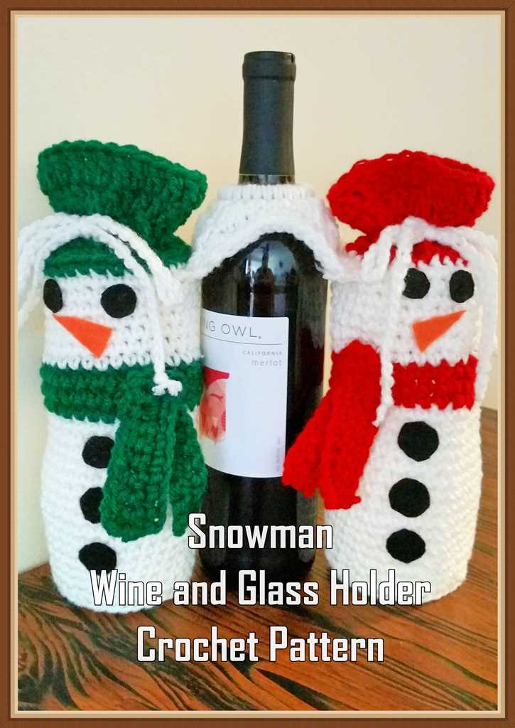 Snowman Wine and Glass Holder Crochet Pattern