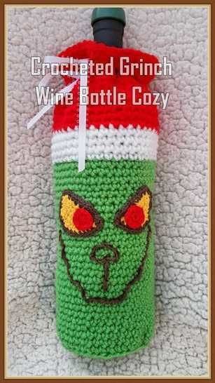 Crocheted Grinch Wine Bottle Cozy at Makerist - Image 1