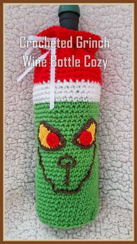 Crocheted Grinch Wine Bottle Cozy at Makerist