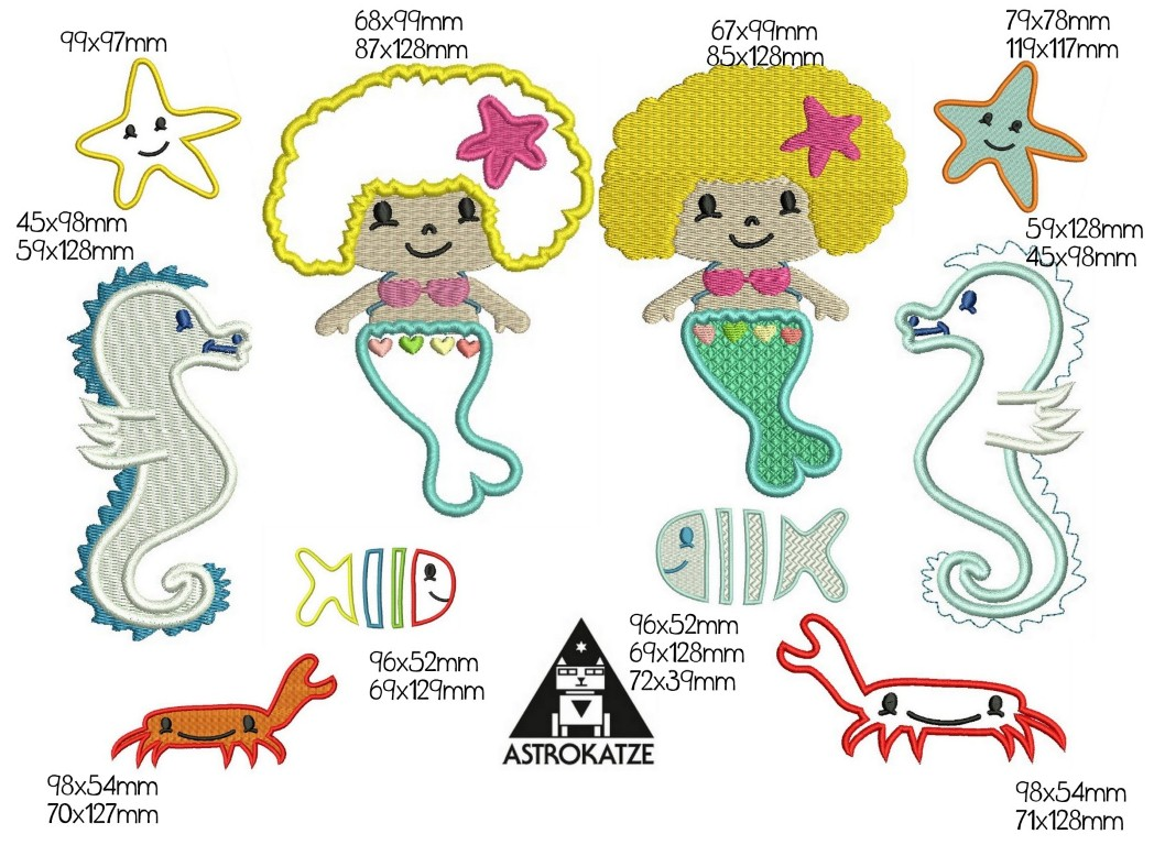 Stickdatei Pedro und Freunde unter Wasser von Astrokatze