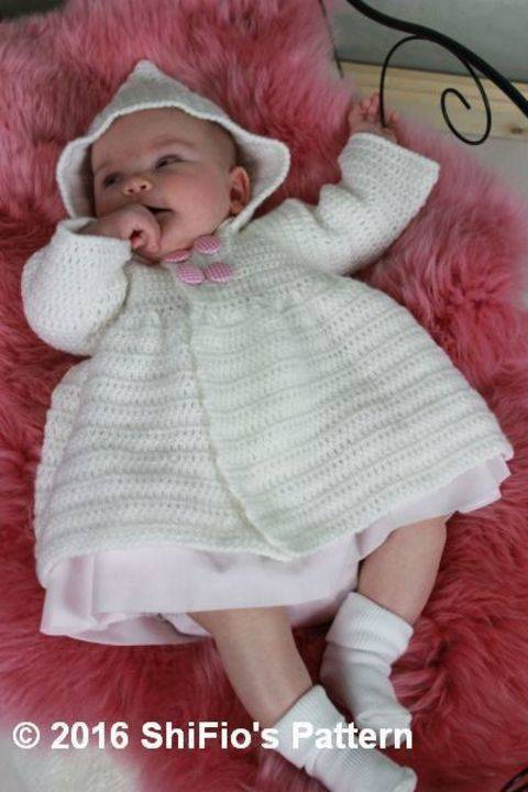 CP351 CROCHET PATTERN For Baby Hooded Jacket Double Breasted in 3 Sizes PDF 351