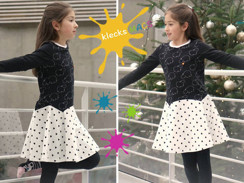 PDF Sewing Pattern for Girls' Dress with Straight or Trumpet Sleeves - *Bluebell*
