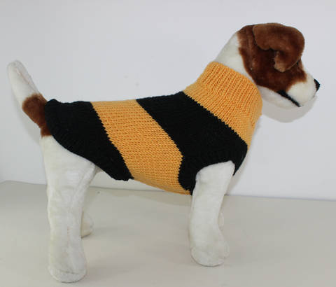 Stripey Bee Aran Dog Coat