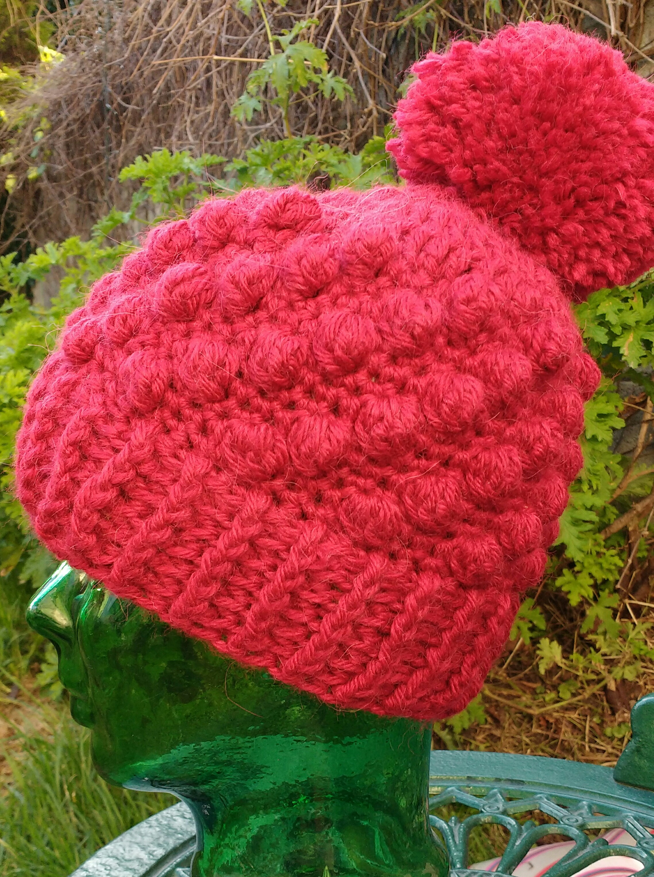 Bobble and Pom Pom Crochet Hat