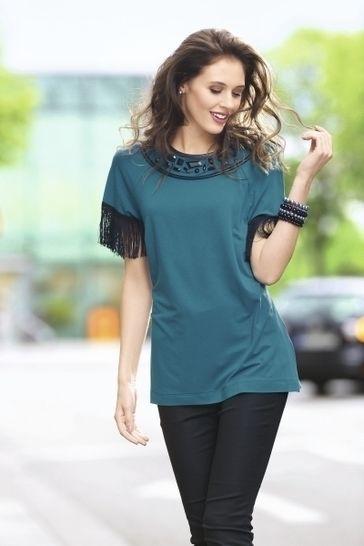 Tailliertes Shirt mit Schmucksteinen, Fransenborte und Nappalederdetails bei Makerist - Bild 1
