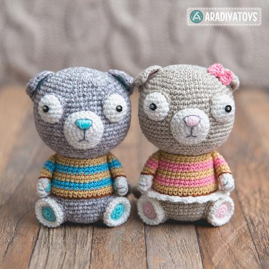 Crochet Pattern of Scottish Fold Cats Luigi and Fiona by AradiyaToys at Makerist - Image 1
