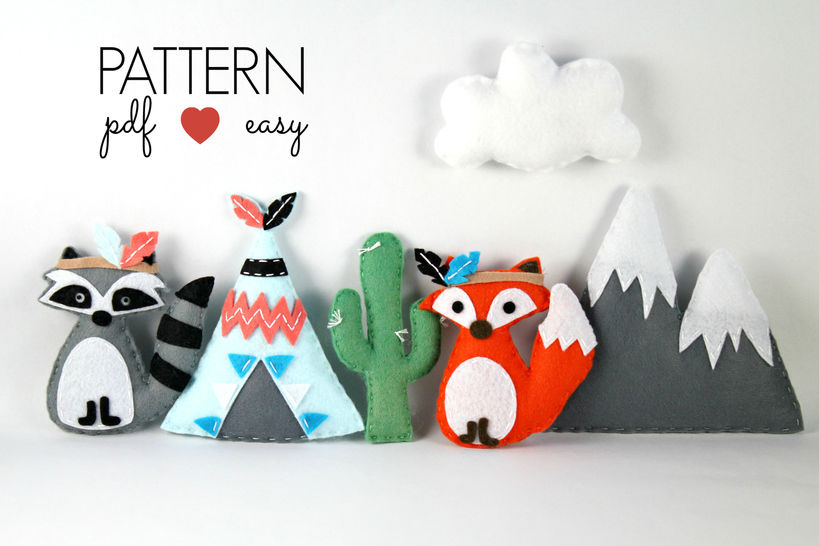 Tribal Felt Sewing Pattern - Tribal Baby Mobiles - Raccoon - Fox - Teepee - Snowy Mountain - Cactus at Makerist - Image 1