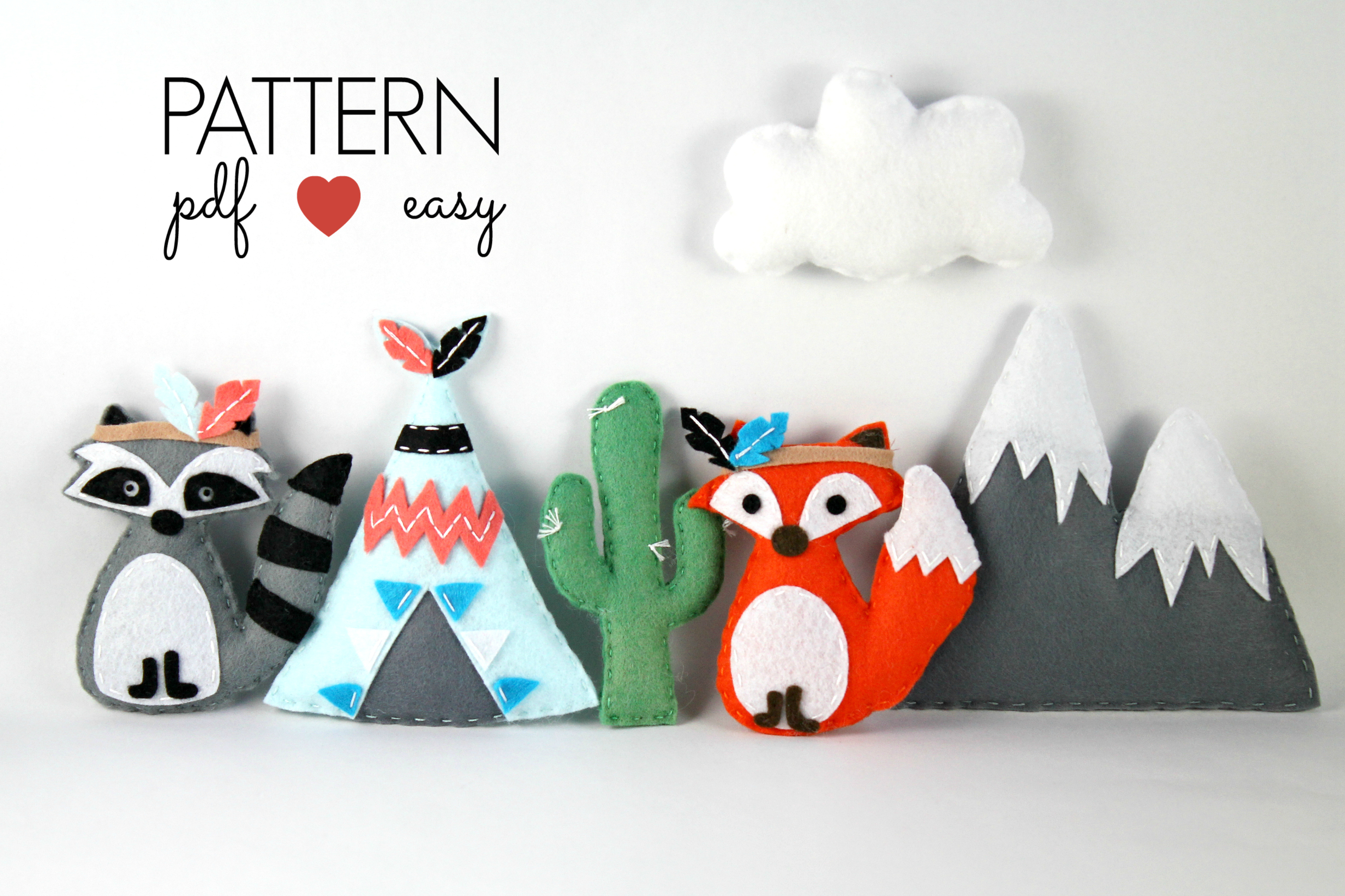 Tribal Felt Sewing Pattern - Tribal Baby Mobiles - Raccoon - Fox - Teepee - Snowy Mountain - Cactus