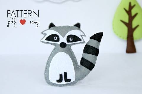Felt Raccoon PDF Sewing Pattern - Woodland Plush Toy – Favor – Topper - Baby Mobile - Ornament - Woodland Animal Pattern