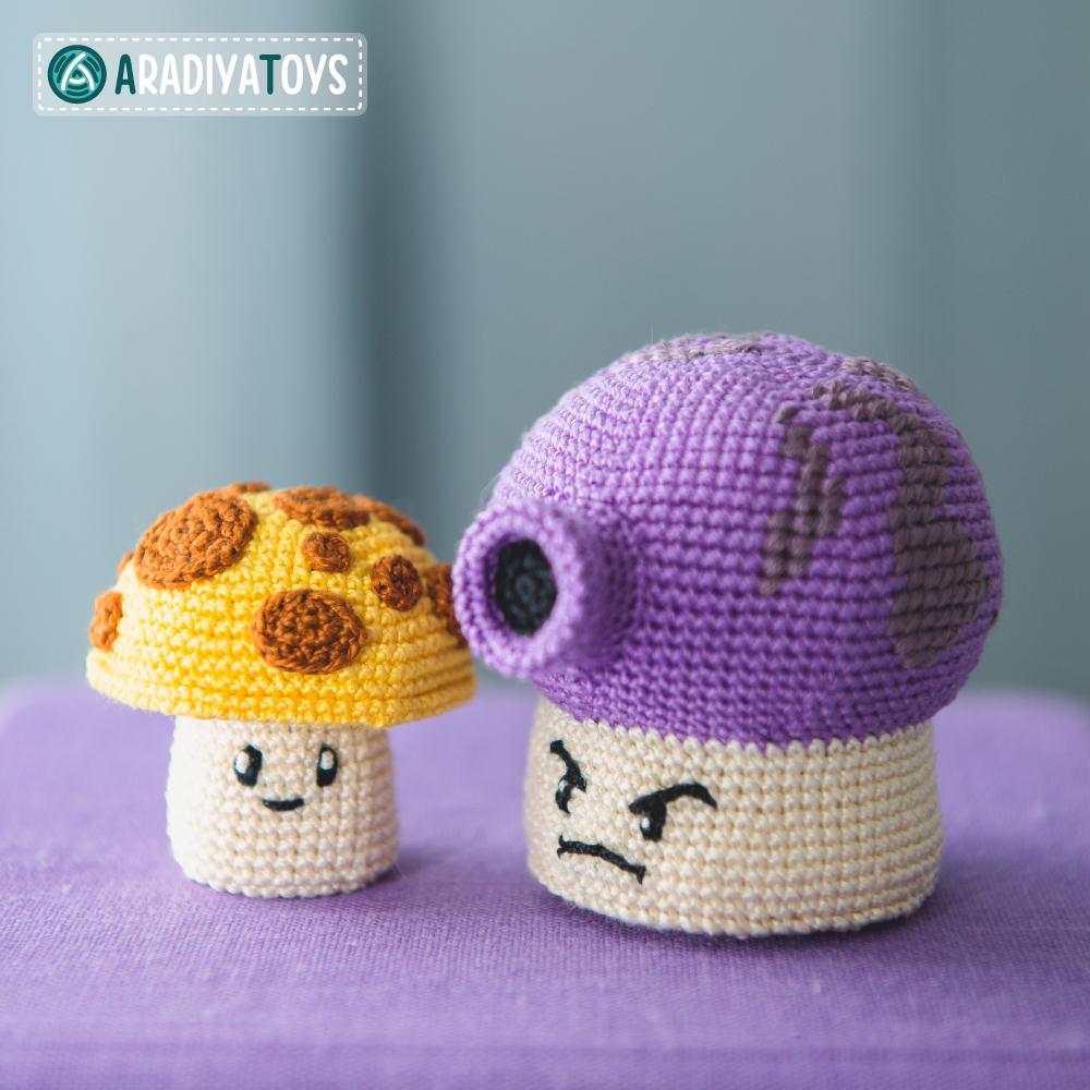 Crochet Pattern of Sun and Fume Shrooms by AradiyaToys