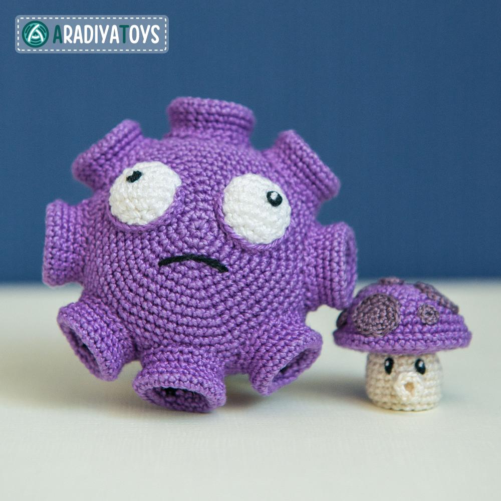 Crochet Pattern of Gloom and Puff Shrooms by AradiyaToys