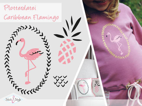 Plottervorlage Caribbean Flamingo bei Makerist