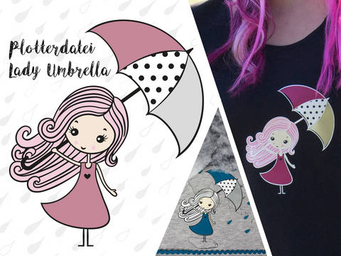 Plottervorlage Lady Umbrella bei Makerist