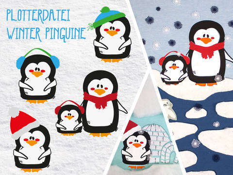 Plottervorlage Winter Pinguine bei Makerist