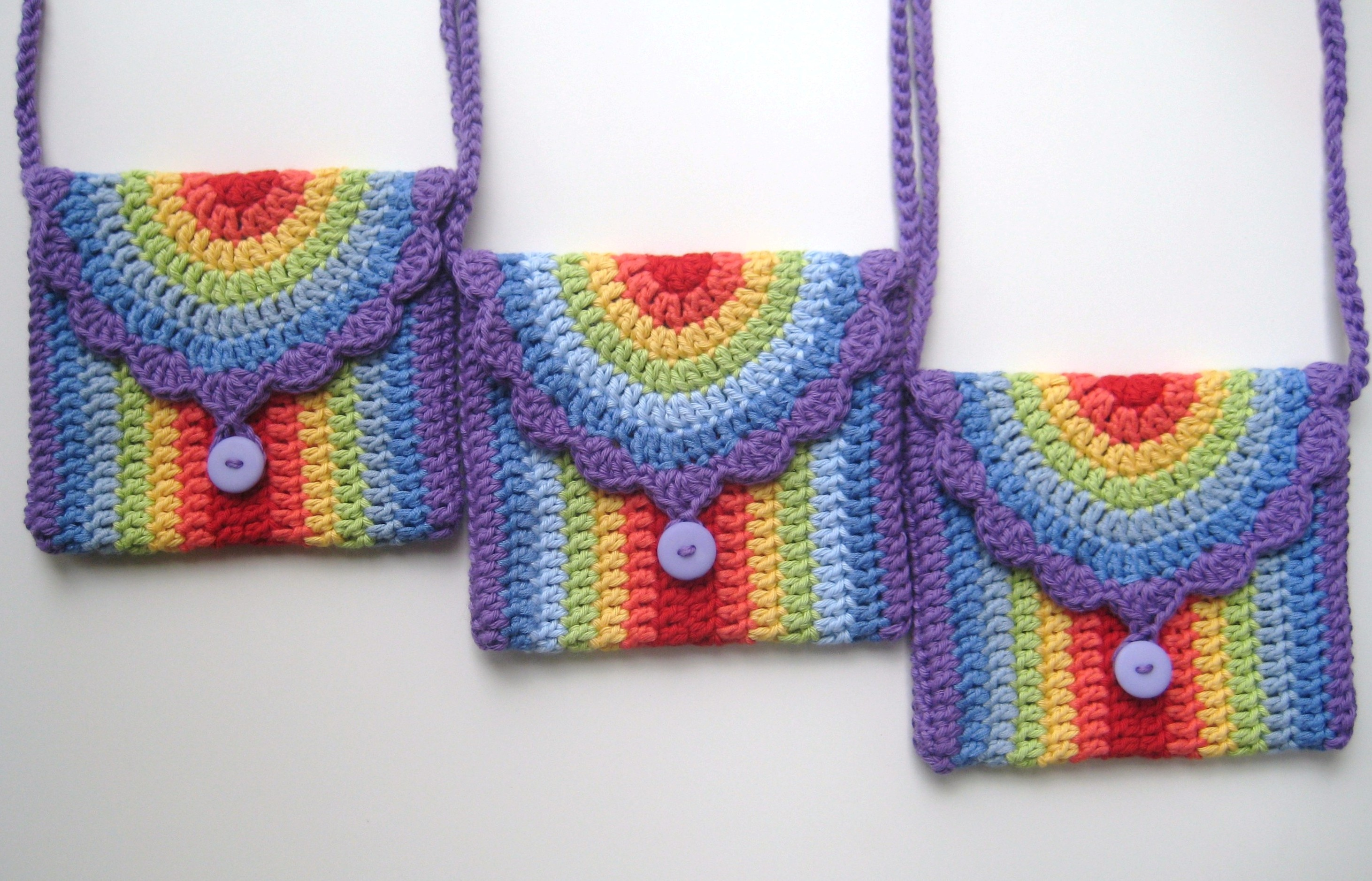 Crochet bag, Rainbow bag, Pattern No14, in both UK and US crochet terms