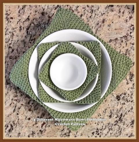 3 Different Microwave Bowl Potholders Crochet Pattern at Makerist