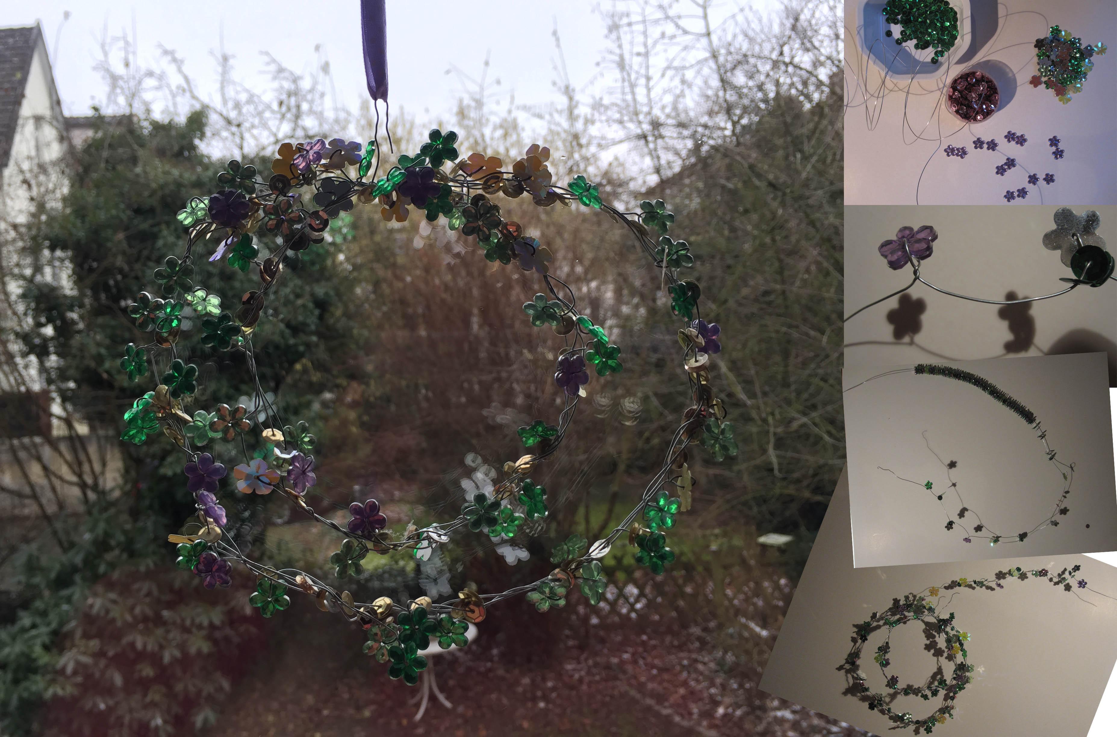 Veilchen für den Frühling: Filigraner Fensterschmuck aus Draht und Perlen