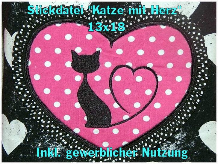 Stickdatei Katze mit Herz 13x18 Füllstich bei Makerist - Bild 1