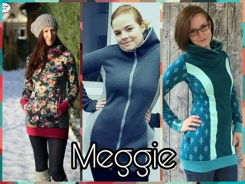 Meggie Hoodie mit Zipper Option bei Makerist