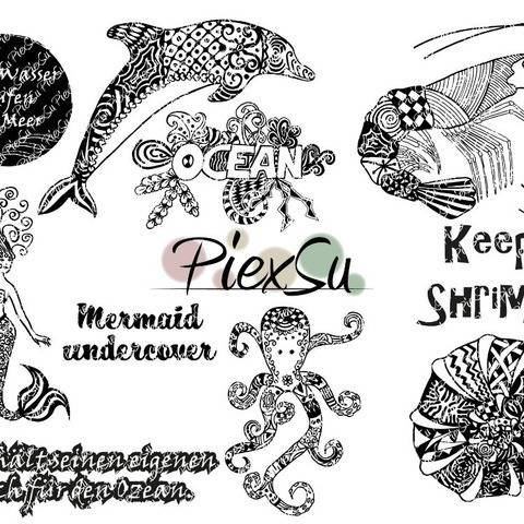 "DXF, SVG Cutting File Set ""Into the ocean"" by PiexSu"