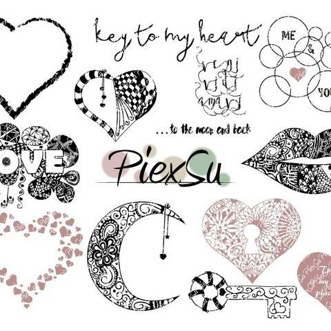 "DXF, SVG Cutting File Set ""In to the heart"""