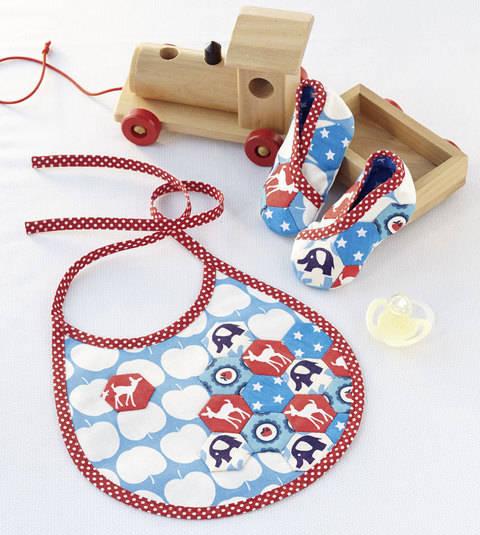 Lätzchen und Babyschuhe Nähanleitung mit Schnittmuster bei Makerist