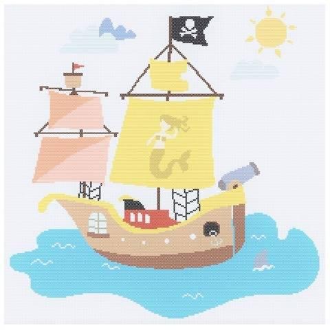 """Kreuzstich-Stickvorlage """"Piratenschiff"""""""