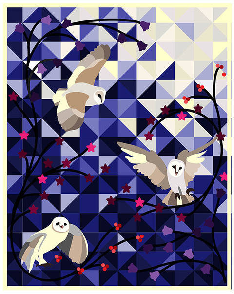 Barn owls applique quilt - pdf pattern and tutorial at Makerist