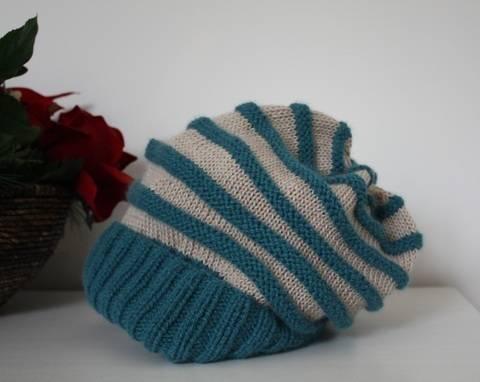 Yahriel – Mütze / Beanie für Frauen mit Streifen - einfach - Strickanleitung bei Makerist