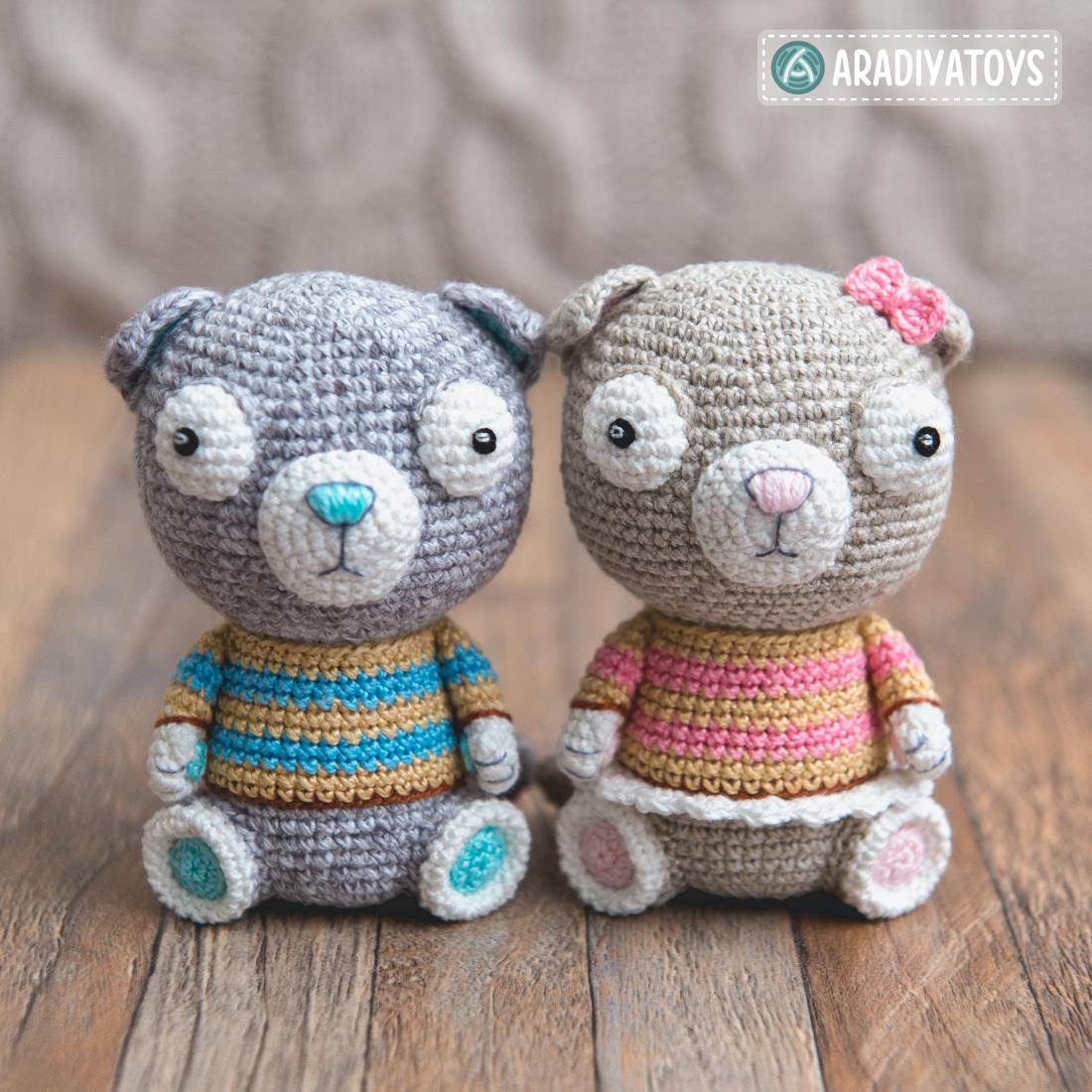 """Modèle au crochet de Luigi et Fiona les Chats Scottish Fold de """"AradiyaToys Design"""""""