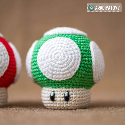 "Modèle au crochet de Champignon 1Up de ""Super Mario Bros."" chez Makerist"