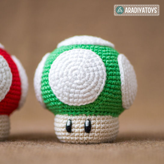 "Crochet Pattern of 1Up Mushroom from ""Super Mario Bros."" at Makerist - Image 1"
