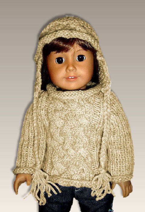 "Aran Cable Sweater, 18"" doll"