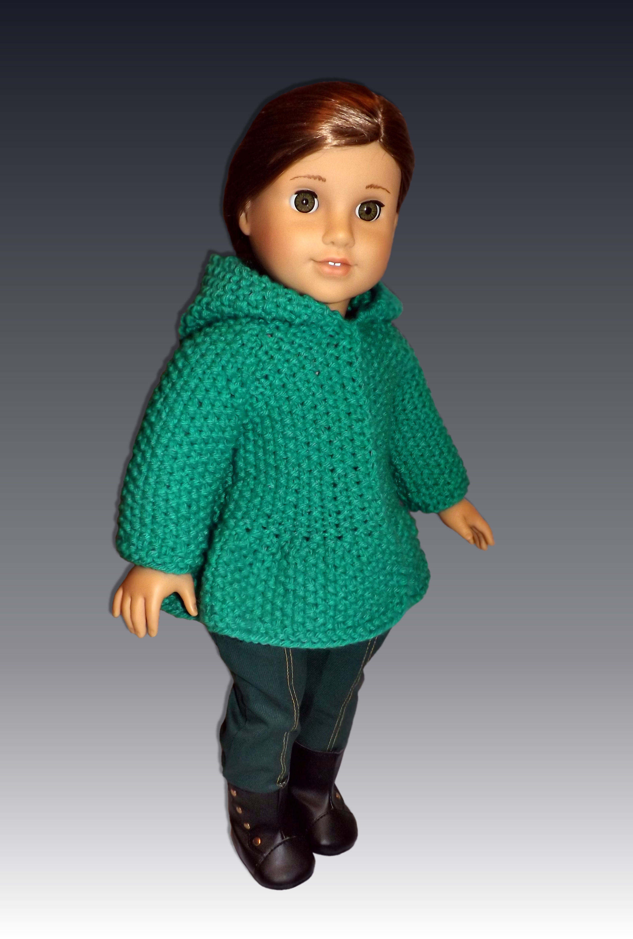 "Hooded Seedstitch Jacket. 18"" Doll."