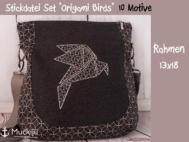 "Stickdatei Set ""Origami Birds"" 13x18"