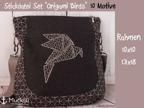 "Stickdatei Set ""Origami Birds"" 10x10 & 13x18"
