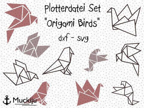 """Plotterdatei """"Origami Birds"""" Set bei Makerist"""