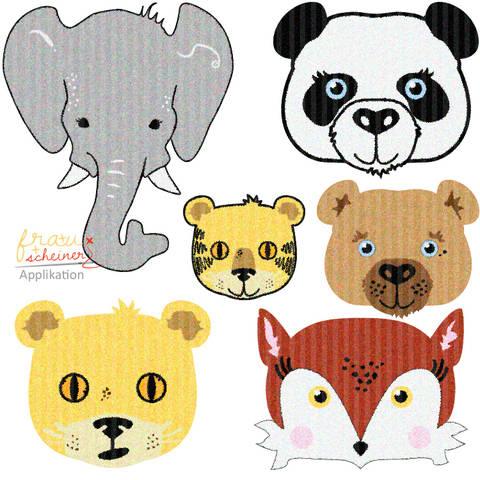 Applikationsvorlage: Fuchs, Bär, Panda, Elefant, Tiger und Löwe