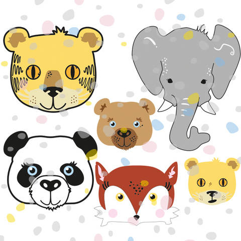 Plottervorlage Fuchs, Panda, Elefant, Tiger, Bär, Löwe